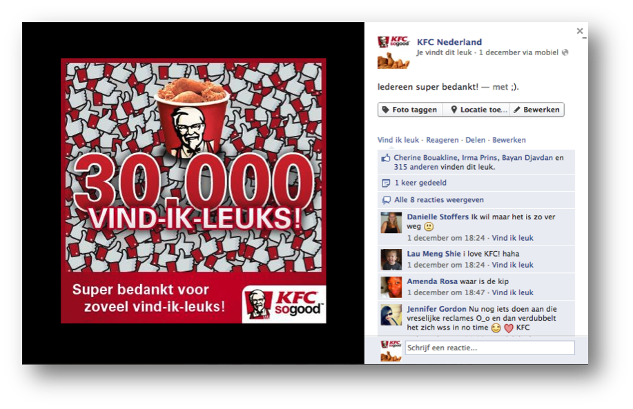 Social Addicts Amsterdam KFC social media post