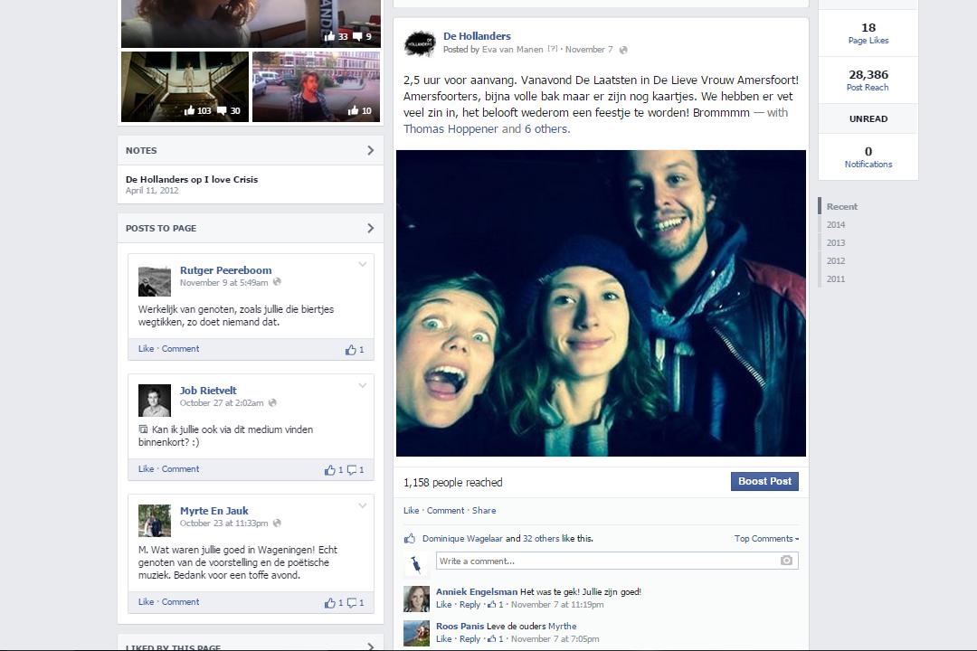 Facebook post van de Hollanders